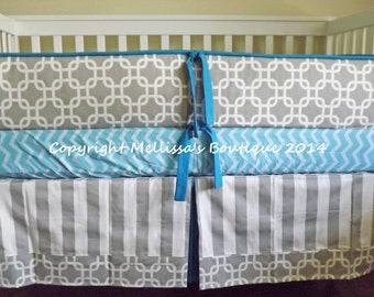 Custom Grey White with Turquoise & Aqua 3-Piece Boutique with Piping and Minky Crib Nursery Bedding Set