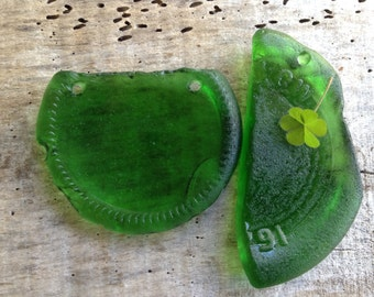 LUCKY GREEN...two large sea glass pieces - jewelry making supplies ~ Irish legend ~ Kelly green ~ bottle bottom
