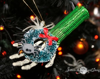 Skeleton hand Nightmare ornament collection decoration halloween christmas tree festive decor -- spider wreath -- By Sisters of the Moon