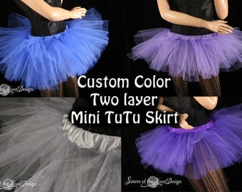 Mini micro tutu skirt dance costume roller derby gogo dancer race run teen child girls -You Choose Size and color - Sisters Of the Moon