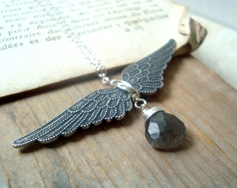 Winged Victory Necklace - Antiqued Silver and Rainbow Labradorite, Vintage Style Silver Angel Wing Necklace Art Nouveau Gifts Under 50
