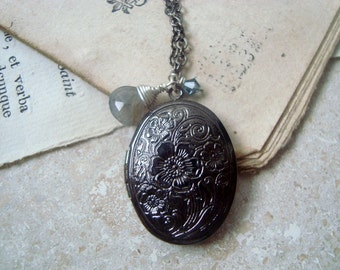 Gunmetal Locket Necklace With Labradorite Vintage Style Mothers Day Gifts Long Layering Necklace Gifts Under 40 Keepsake Jewelry