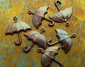 Umbrella Charms - 6 pcs - Hand Antiqued Brass Charms - Patina Queen