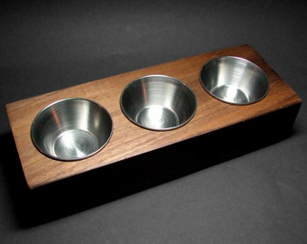 MINIMALIST Rectangular Footed Condiments Dips Serving Tray, Rustic Wooden American Walnut by Tanja Sova
