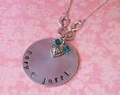 Hand Stamped Double Infinity and Heart Necklace