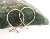 Small Gold Hoop Earrings- Fish Shaped Hoops- Gold Wire Hoops, Under 20, Gift for Her, Pink Gold Hoops
