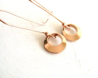 Rose Gold Modernist Earrings Long dangles Geometric Jewelry Spring gift for her Under 40