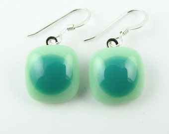 Mint & Teal Fused Glass Earrings. Made To Order. Fused Glass Jewelry. Glass Earrings. Earrings for Women. Glass Jewelry.