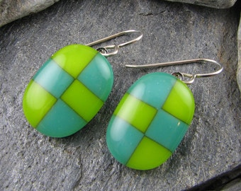 Lime and Teal Fused Glass Earrings in Checkerboard Pattern. Glass Earrings. Modern Jewelry. Bold Jewelry. Trendy Jewelry. Handmade.