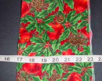 6.5 inch wide apple print fabric wired ribbon - BTY