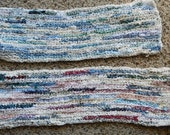 Two handmade table runners crocheted from fabric scraps selvages multicolor, blue
