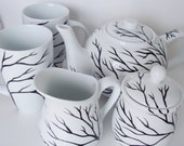 Tree Branches Teapot and Cream and Sugar and Cup Set Hand Painted