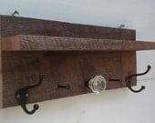 Antique Coat Rack made with Barnwood, Glass Door Knob and Antique Hooks