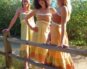SALE Country Dress Hippie Eyelet Lace Patchwork Floral Medium Orange Patch Vintage Hippy Bridesmaid Summer Festival Retro elyse oRiGiNaLs