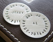 Personalized Golf Marker Set for Father of the Bride and Father of the Groom - Custom Hand Stamped Sterling Silver Golf Markers (Set of Two)