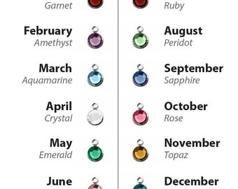 Birthstone Charm, Swarovski Crystal Birthstone Drop, Add on Charm, 6mm