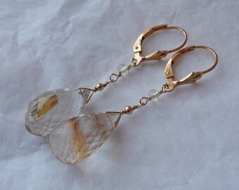 Sparkling golden rutilated quartz earrings, drops, faceted, scapiolite, gold fill, leverbacks, statement, elegant