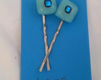 Fused Glass Bobby Pins Turquoise Blue with Dichroic