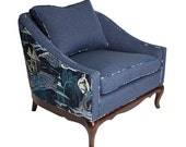 Indigo Asian Barrel Backed Chair