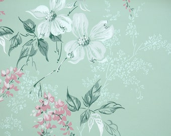 1960s Vintage Wallpaper by the Yard - Floral Vintage Wallpaper White Dogwood and Pink Flowers on Green
