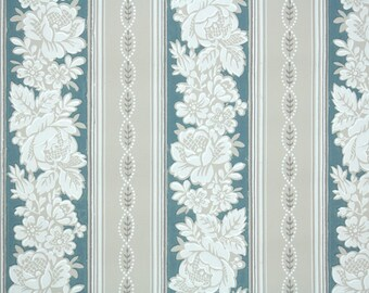 1950's Vintage Wallpaper -  Wallpaper with White Blue and Gray Floral Stripe