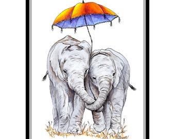 Elephant Parasol 12 x 16 Signed Giclee Fine Art Print