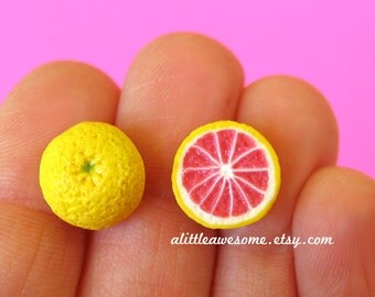 Grapefruit Studs, Food Jewelry, Grapefruit Earrings, Miniature Food
