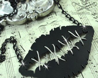 My Lips Are Sealed - Black Glossy Stitched Lips Neckalce in Laser Cut Acrylic