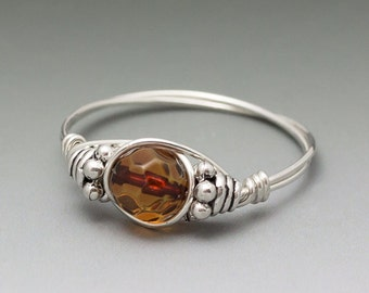 Amber Faceted Bali Sterling Silver Wire Wrapped Bead Ring