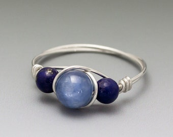 Blue Kyanite & Lapis Lazuli Sterling Silver Wire Wrapped Ring ANY size