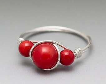 Red Coral Sterling Silver Wire Wrapped Beaded Ring - Made to Order, Ships Fast!