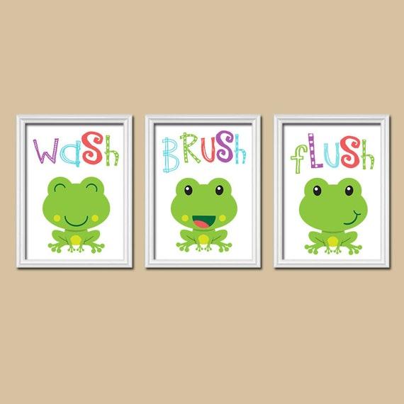 frog bathroom frog wall art kid bathroom wash brush by trmdesign. Black Bedroom Furniture Sets. Home Design Ideas