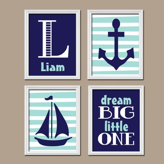 BABY BOY Nursery Nautical Wall Art CANVAS Or Prints Child Navy Blue
