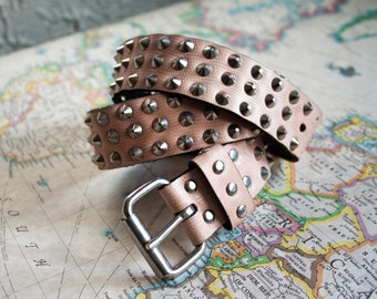 Light Pink Peach Leather Studded Belt