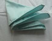 Hand rolled dupioni silk pocket square handkerchief