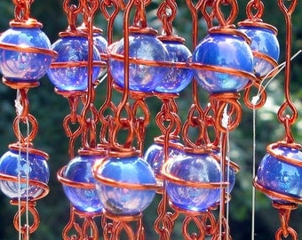 September Birthstone Blue Sapphire Windchime with Recycled Aluminum and Copper Wrapped Electric and Iridescent Blue Glass Marble Prisms