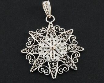 Sun - Silver Filigree Pendant