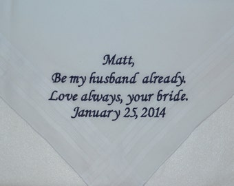 "Personalized Mens Handkerchief  Custom Personalized Wedding Hankie 16.5"" square FREE SHIPPING in USA"
