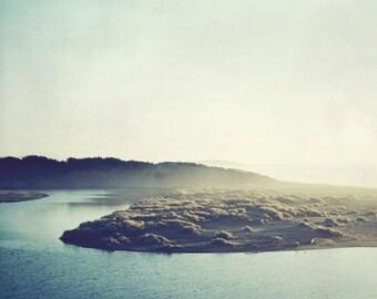 "California landscape - olive green decor - blue gray landscape print - dreamy river - large wall art ""River and Sea"""
