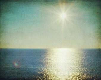 "Beach ocean photography print,  dark teal blue summer water sunlight reflection sea nautical home decor ""Sun Flare"""