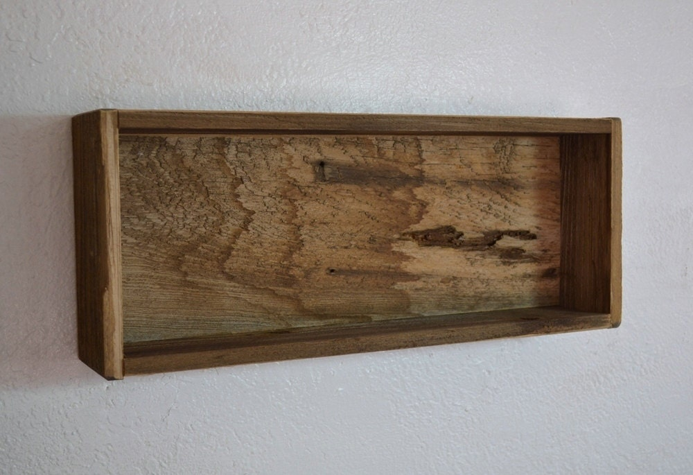 Wooden Wall Boxes : Recycled wood shadow box wall shelf wide