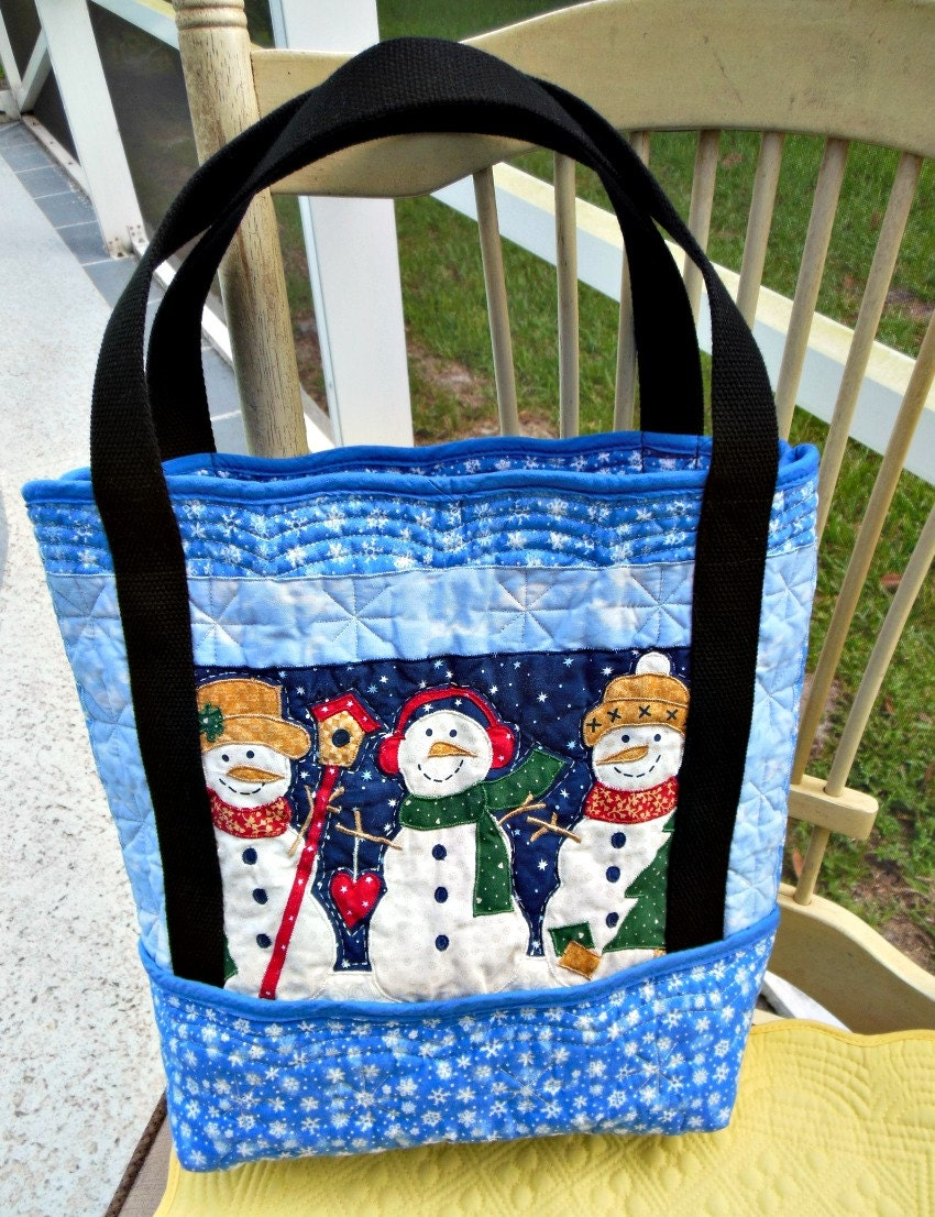 Placemat Tote Bag Snowman Black Handles