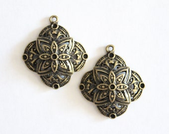 Vintage brass domed mandala filigree charms 28x25mm (2)