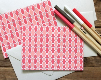 Set (10) Mod Swirl Folded Notecards / Corals and Silver / Shimmer Silver Envelopes