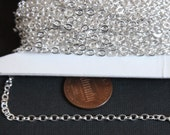 Sample chain 3 ft of Silver Plated Chain Tiny Flat Soldered Cable Chain 2mm