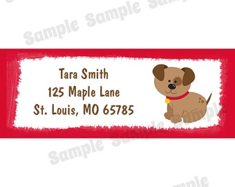 30 Personalized Return Address Labels- Puppy Dog