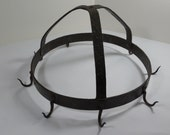 Small hand hammered look wrought iron pot rack