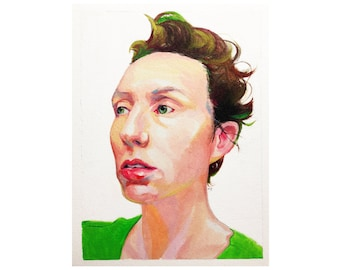 Self Portrait - original oil painting on paper