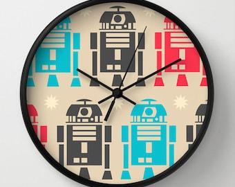 Star wars Wall clock - Modern wall clock -R2D2 decor - Designer gift - Nursery decor - Contemporary decor - Wall Decor - Wall art