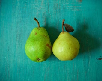 Food photography . aqua teal green . kitchen wall art . Autumn harvest . pear photograph . fine art photography . wall decor . organic frui